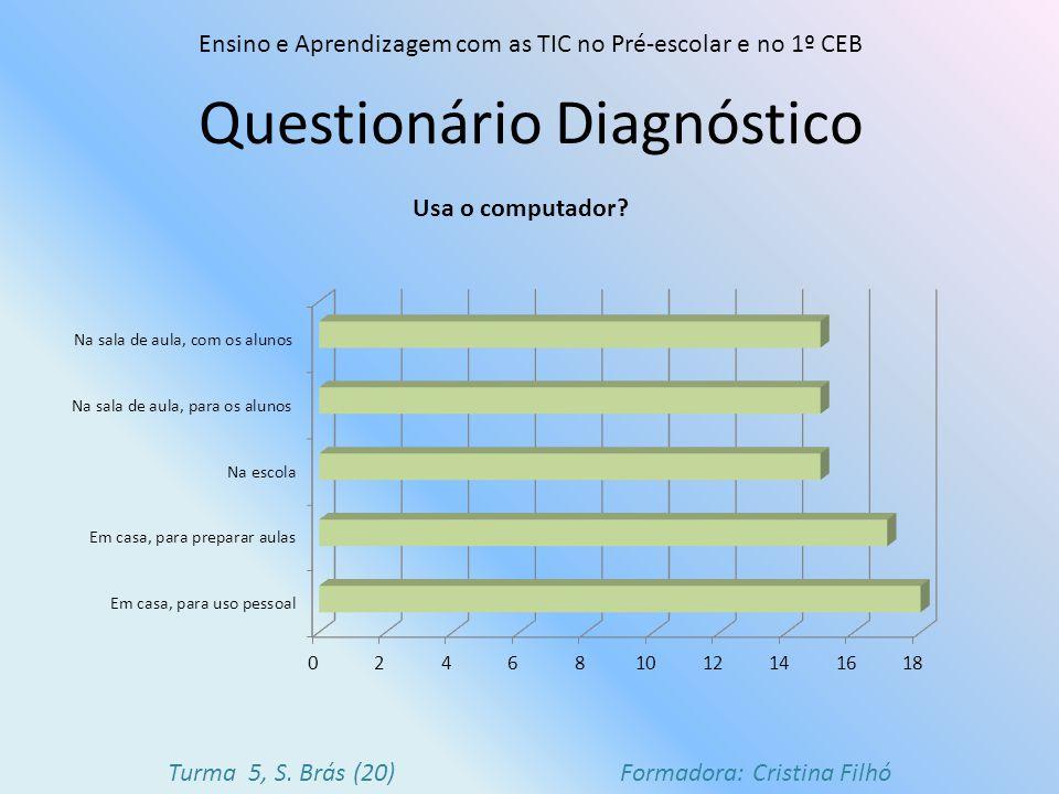 Questionário Diagnóstico Ensino e Aprendizagem com as TIC no Pré-escolar e no 1º CEB Turma 5, S. Brás (20) Formadora: Cristina Filhó