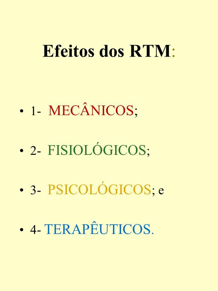 Efeitos dos RTM: 1- MECÂNICOS; 2- FISIOLÓGICOS ; 3- PSICOLÓGICOS ; e 4- TERAPÊUTICOS.