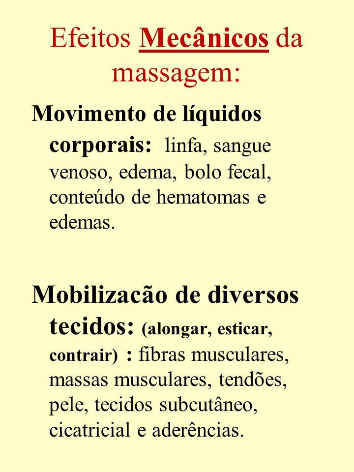 Efeitos Mecânicos da massagem: Movimento de líquidos corporais: linfa, sangue venoso, edema, bolo fecal, conteúdo de hematomas e edemas. Mobilizacão d