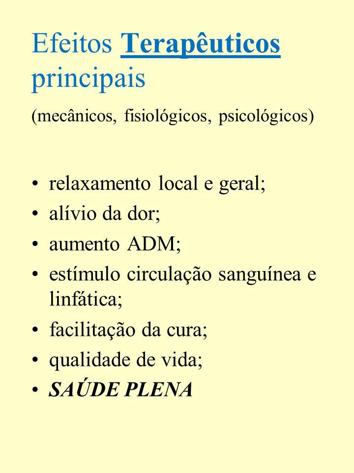 Efeitos Terapêuticos principais (mecânicos, fisiológicos, psicológicos) relaxamento local e geral; alívio da dor; aumento ADM; estímulo circulação san