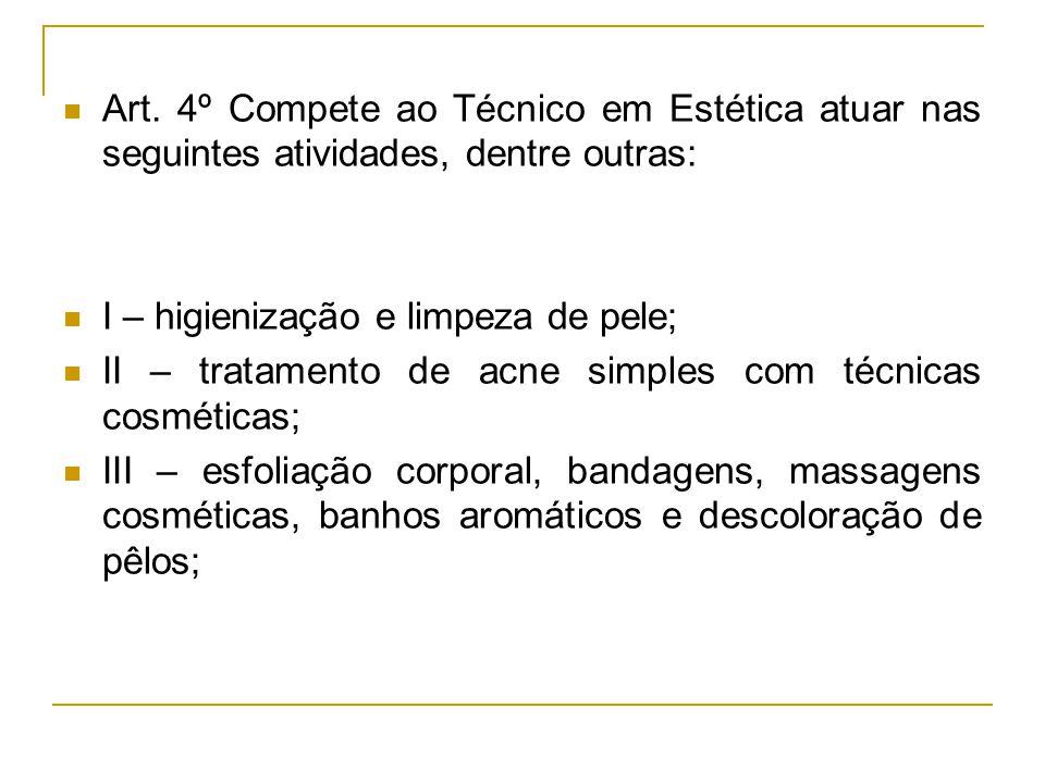 Art. 4º Compete ao Técnico em Estética atuar nas seguintes atividades, dentre outras: I – higienização e limpeza de pele; II – tratamento de acne simp