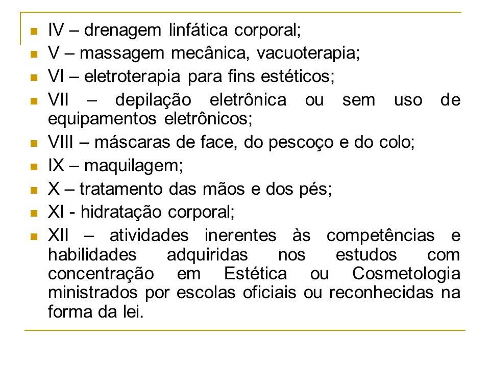IV – drenagem linfática corporal; V – massagem mecânica, vacuoterapia; VI – eletroterapia para fins estéticos; VII – depilação eletrônica ou sem uso d