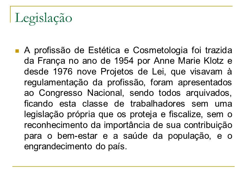 Legislação A profissão de Estética e Cosmetologia foi trazida da França no ano de 1954 por Anne Marie Klotz e desde 1976 nove Projetos de Lei, que vis