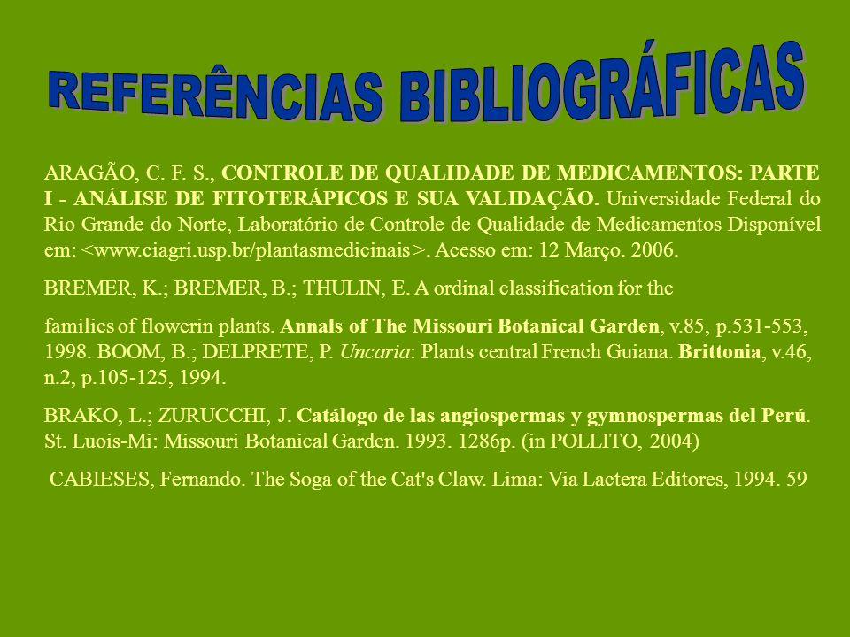 ARAGÃO, C. F. S., CONTROLE DE QUALIDADE DE MEDICAMENTOS: PARTE I - ANÁLISE DE FITOTERÁPICOS E SUA VALIDAÇÃO. Universidade Federal do Rio Grande do Nor