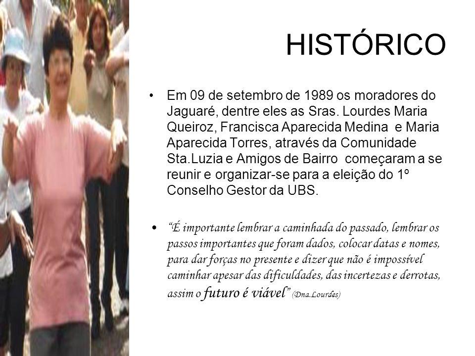 HISTÓRICO Em 09 de setembro de 1989 os moradores do Jaguaré, dentre eles as Sras. Lourdes Maria Queiroz, Francisca Aparecida Medina e Maria Aparecida