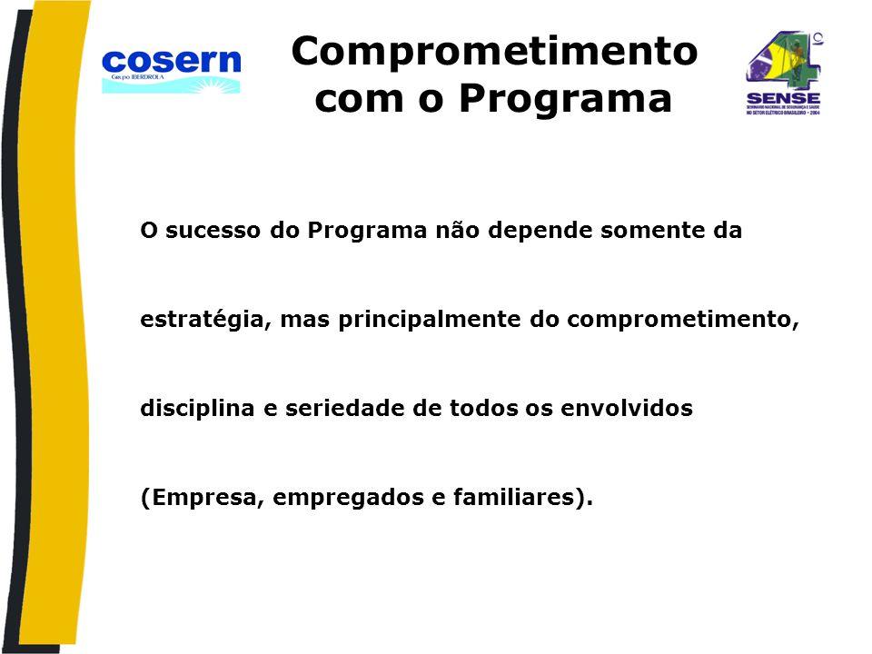 Comprometimento com o Programa O sucesso do Programa não depende somente da estratégia, mas principalmente do comprometimento, disciplina e seriedade de todos os envolvidos (Empresa, empregados e familiares).