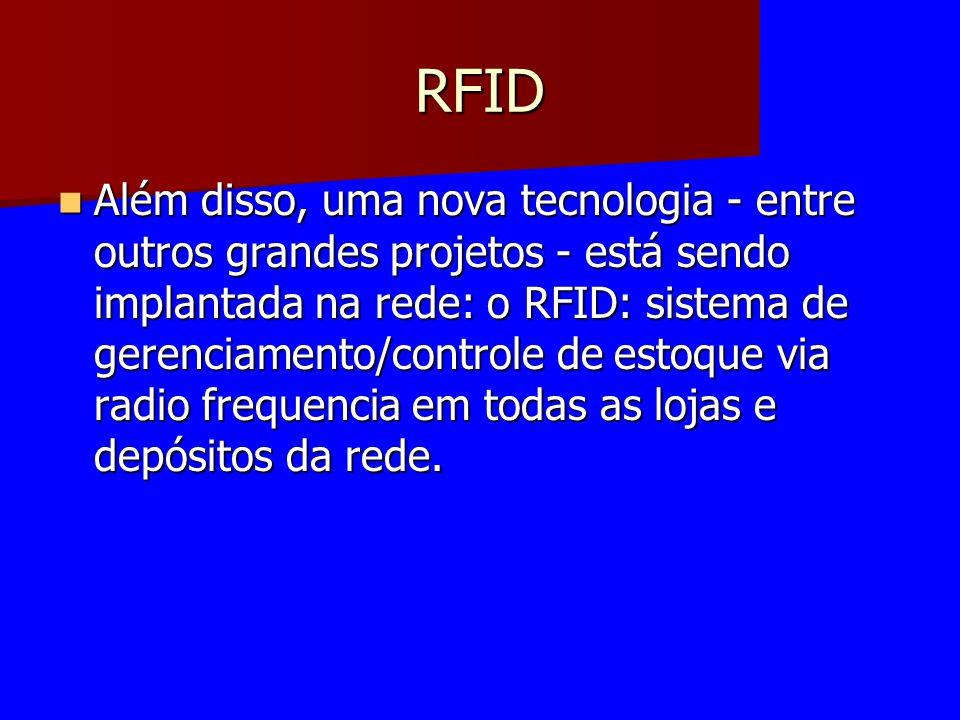RFID Além disso, uma nova tecnologia - entre outros grandes projetos - está sendo implantada na rede: o RFID: sistema de gerenciamento/controle de est