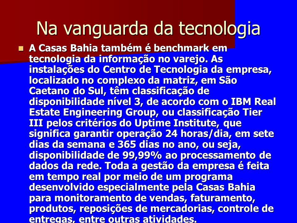 Na vanguarda da tecnologia A Casas Bahia também é benchmark em tecnologia da informação no varejo. As instalações do Centro de Tecnologia da empresa,