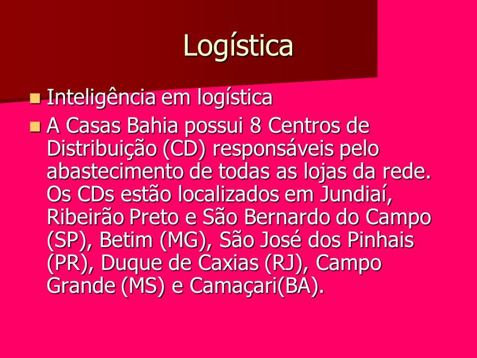 Logística Inteligência em logística Inteligência em logística A Casas Bahia possui 8 Centros de Distribuição (CD) responsáveis pelo abastecimento de t