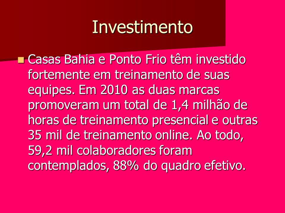 Investimento Casas Bahia e Ponto Frio têm investido fortemente em treinamento de suas equipes. Em 2010 as duas marcas promoveram um total de 1,4 milhã