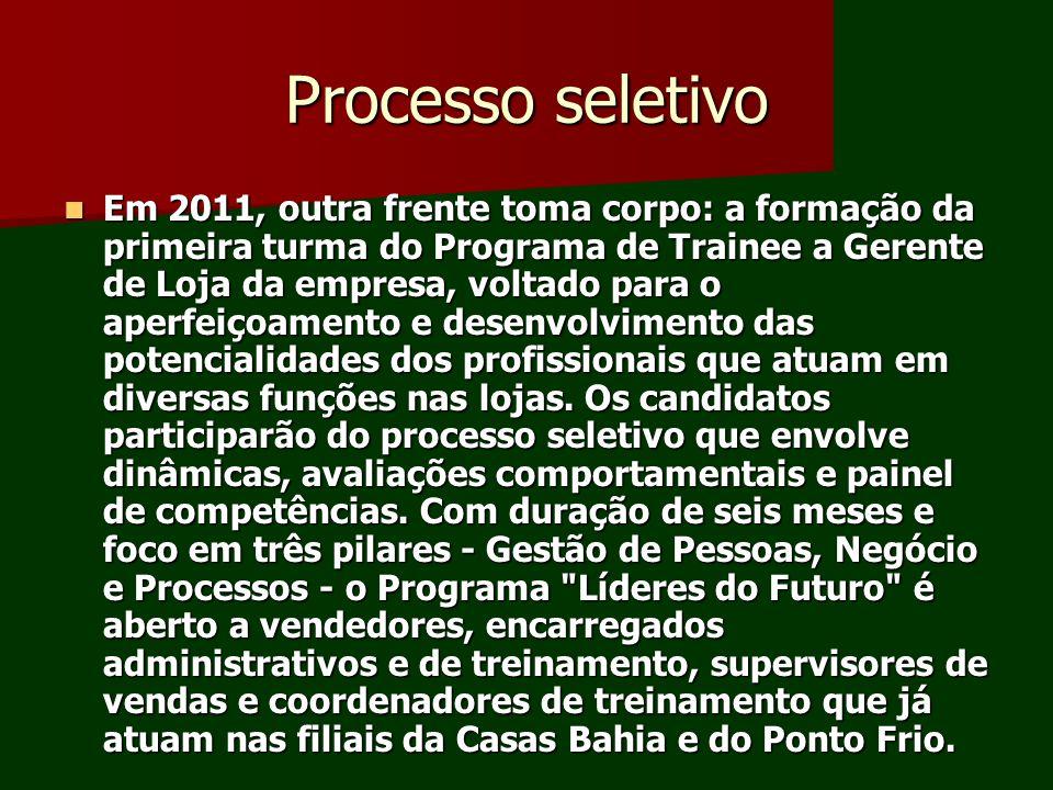 Processo seletivo Em 2011, outra frente toma corpo: a formação da primeira turma do Programa de Trainee a Gerente de Loja da empresa, voltado para o a