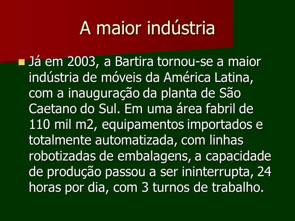 A maior indústria Já em 2003, a Bartira tornou-se a maior indústria de móveis da América Latina, com a inauguração da planta de São Caetano do Sul. Em