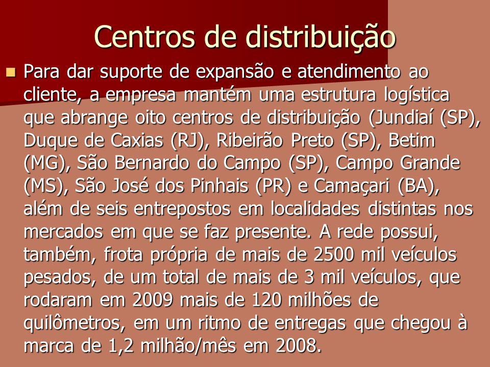 Centros de distribuição Para dar suporte de expansão e atendimento ao cliente, a empresa mantém uma estrutura logística que abrange oito centros de di