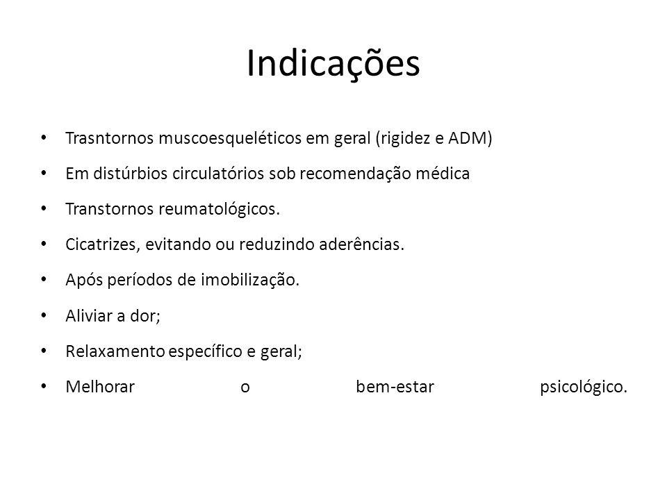 Indicações Trasntornos muscoesqueléticos em geral (rigidez e ADM) Em distúrbios circulatórios sob recomendação médica Transtornos reumatológicos. Cica