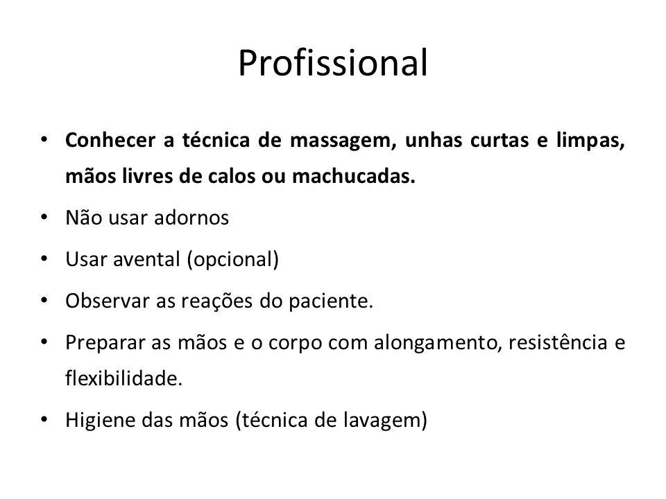 Profissional Conhecer a técnica de massagem, unhas curtas e limpas, mãos livres de calos ou machucadas. Não usar adornos Usar avental (opcional) Obser