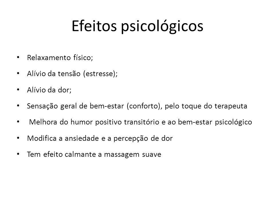 Efeitos psicológicos Relaxamento físico; Alívio da tensão (estresse); Alívio da dor; Sensação geral de bem-estar (conforto), pelo toque do terapeuta M
