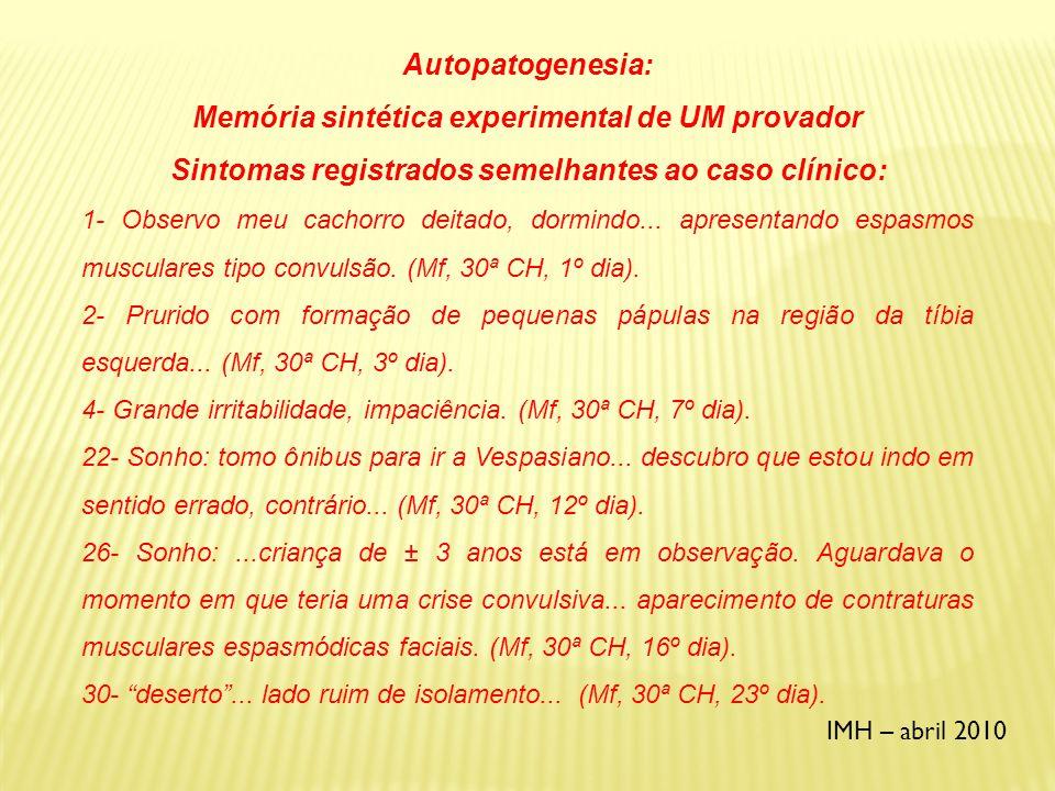 IMH – abril 2010 MATÉRIA MÉDICA CLÁSSICA DE CUPRUM METALLICUM (Vijnovsky, Boericke) Choro involuntário.