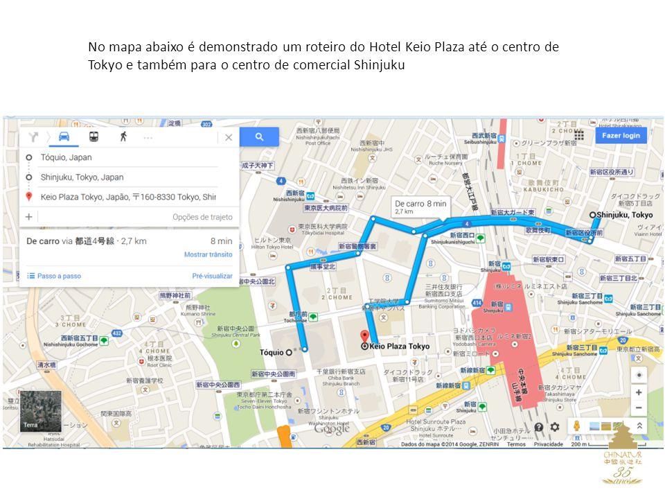 No mapa abaixo é demonstrado um roteiro do Hotel Keio Plaza até o centro de Tokyo e também para o centro de comercial Shinjuku