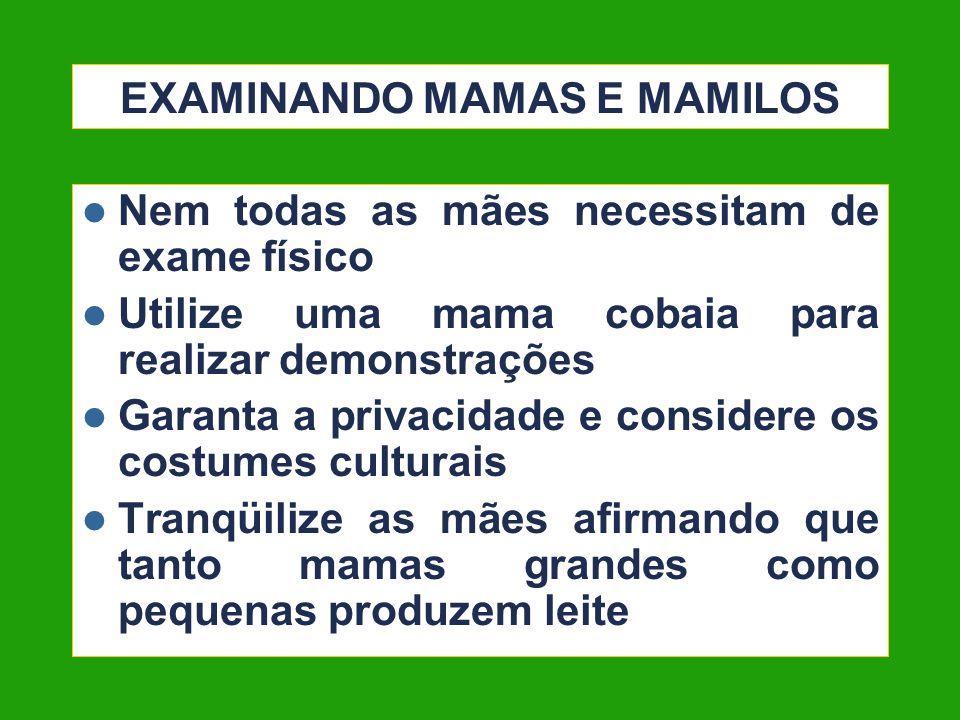 EXAMINANDO MAMAS E MAMILOS Nem todas as mães necessitam de exame físico Utilize uma mama cobaia para realizar demonstrações Garanta a privacidade e co