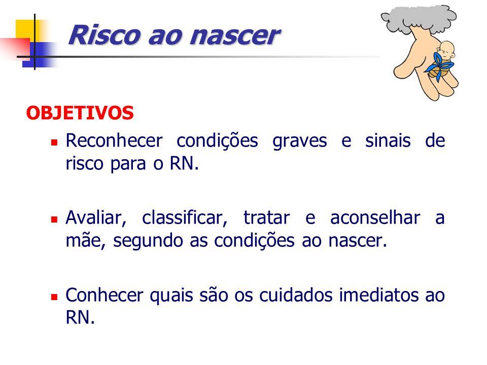 Risco ao nascer OBJETIVOS Reconhecer condições graves e sinais de risco para o RN.