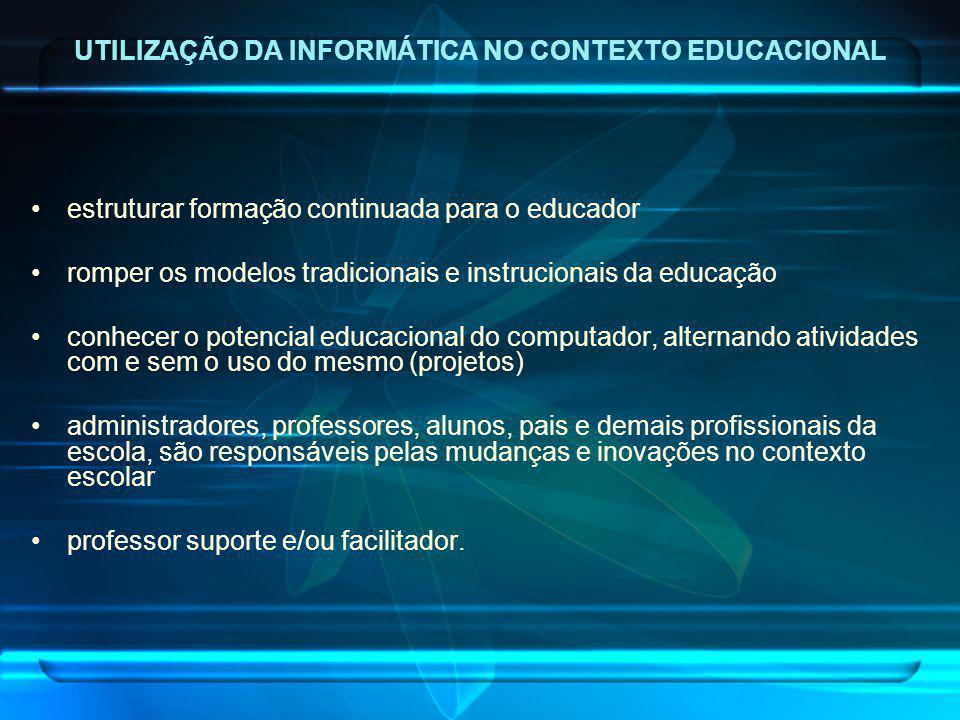 estruturar formação continuada para o educador romper os modelos tradicionais e instrucionais da educação conhecer o potencial educacional do computad