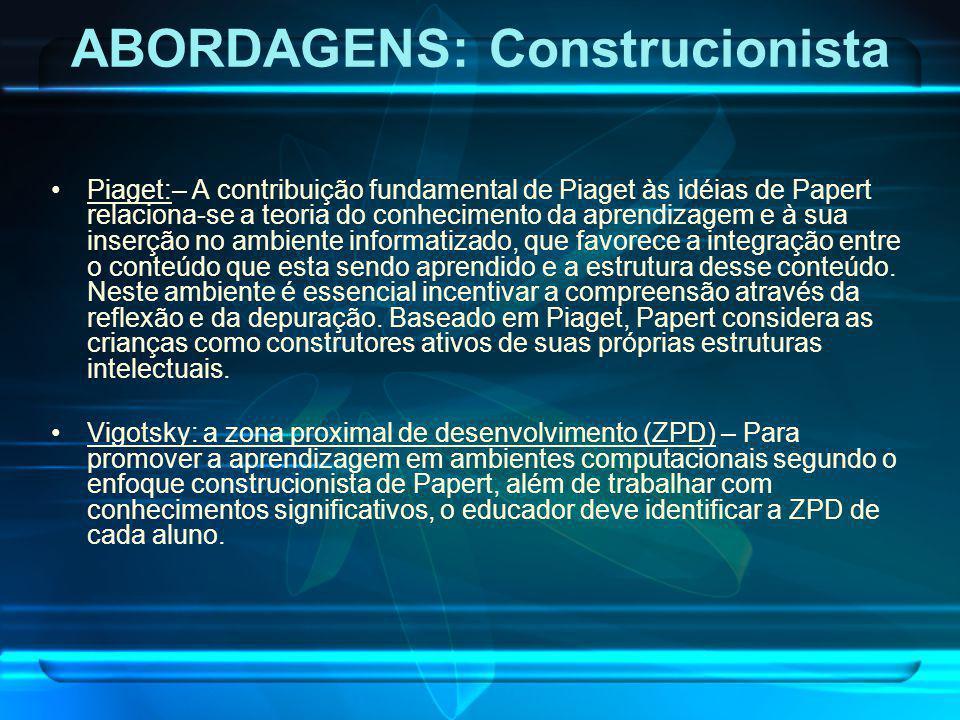 Piaget:– A contribuição fundamental de Piaget às idéias de Papert relaciona-se a teoria do conhecimento da aprendizagem e à sua inserção no ambiente i