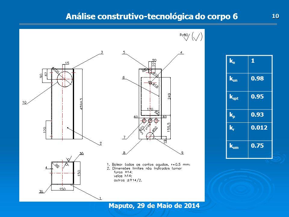 Maputo, 29 de Maio de 2014 10 Análise construtivo-tecnológica do corpo 6 knkn 1 k un 0.98 k spt 0.95 kpkp 0.93 krkr 0.012 k um 0.75