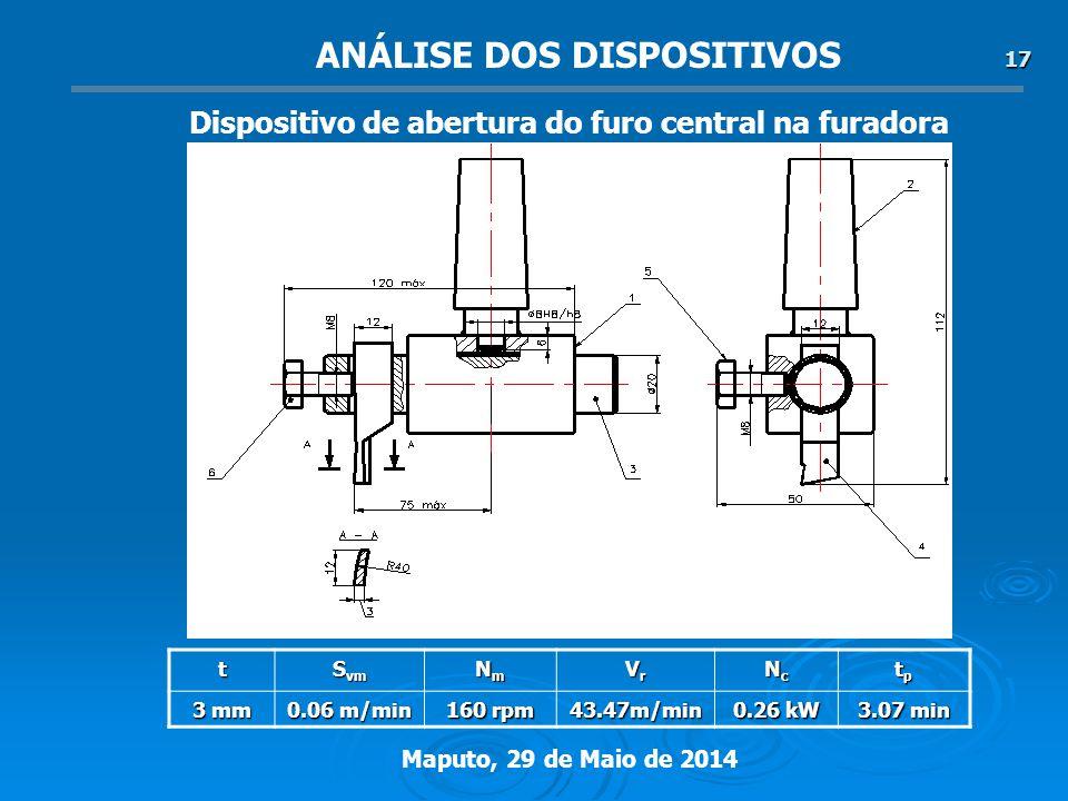 Maputo, 29 de Maio de 2014 17 Dispositivo de abertura do furo central na furadora t S vm NmNmNmNm VrVrVrVr NcNcNcNc tptptptp 3 mm 0.06 m/min 160 rpm 43.47m/min 0.26 kW 3.07 min ANÁLISE DOS DISPOSITIVOS
