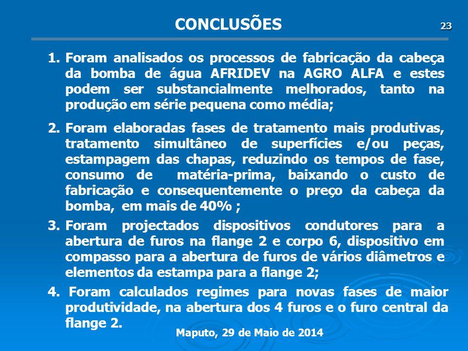 Maputo, 29 de Maio de 2014 23 2.Foram elaboradas fases de tratamento mais produtivas, tratamento simultâneo de superfícies e/ou peças, estampagem das chapas, reduzindo os tempos de fase, consumo de matéria-prima, baixando o custo de fabricação e consequentemente o preço da cabeça da bomba, em mais de 40% ; 1.Foram analisados os processos de fabricação da cabeça da bomba de água AFRIDEV na AGRO ALFA e estes podem ser substancialmente melhorados, tanto na produção em série pequena como média; 3.Foram projectados dispositivos condutores para a abertura de furos na flange 2 e corpo 6, dispositivo em compasso para a abertura de furos de vários diâmetros e elementos da estampa para a flange 2; CONCLUSÕES 4.