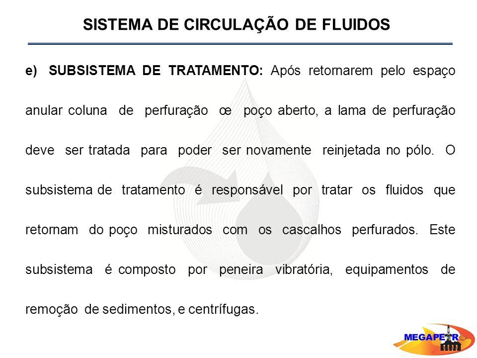 e) SUBSISTEMA DE TRATAMENTO: Após retornarem pelo espaço anular coluna de perfuração œ poço aberto, a lama de perfuração deve ser tratada para poder ser novamente reinjetada no pólo.