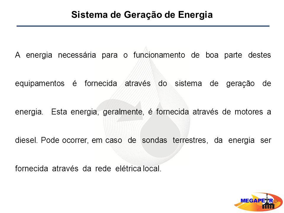 Sistema de Geração de Energia A energia necessária para o funcionamento de boa parte destes equipamentos é fornecida através do sistema de geração de energia.
