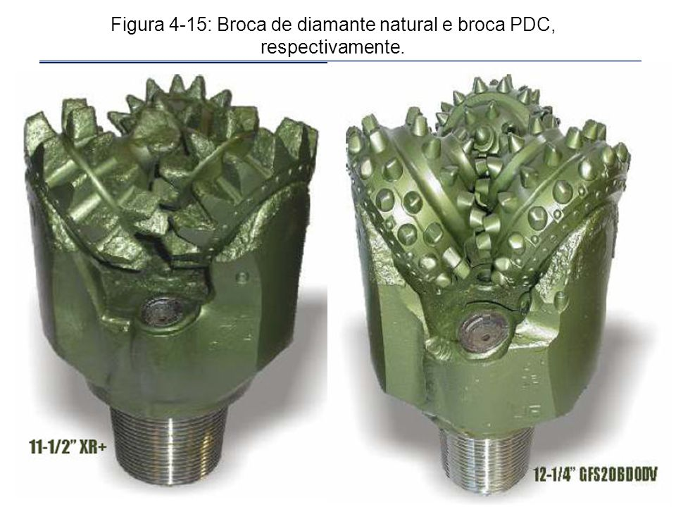 Figura 4-15: Broca de diamante natural e broca PDC, respectivamente.