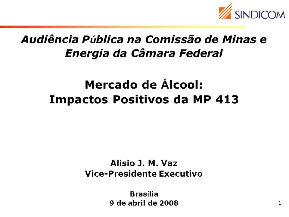 1 Audiência P ú blica na Comissão de Minas e Energia da Câmara Federal Mercado de Á lcool: Impactos Positivos da MP 413 Alisio J. M. Vaz Vice-Presiden