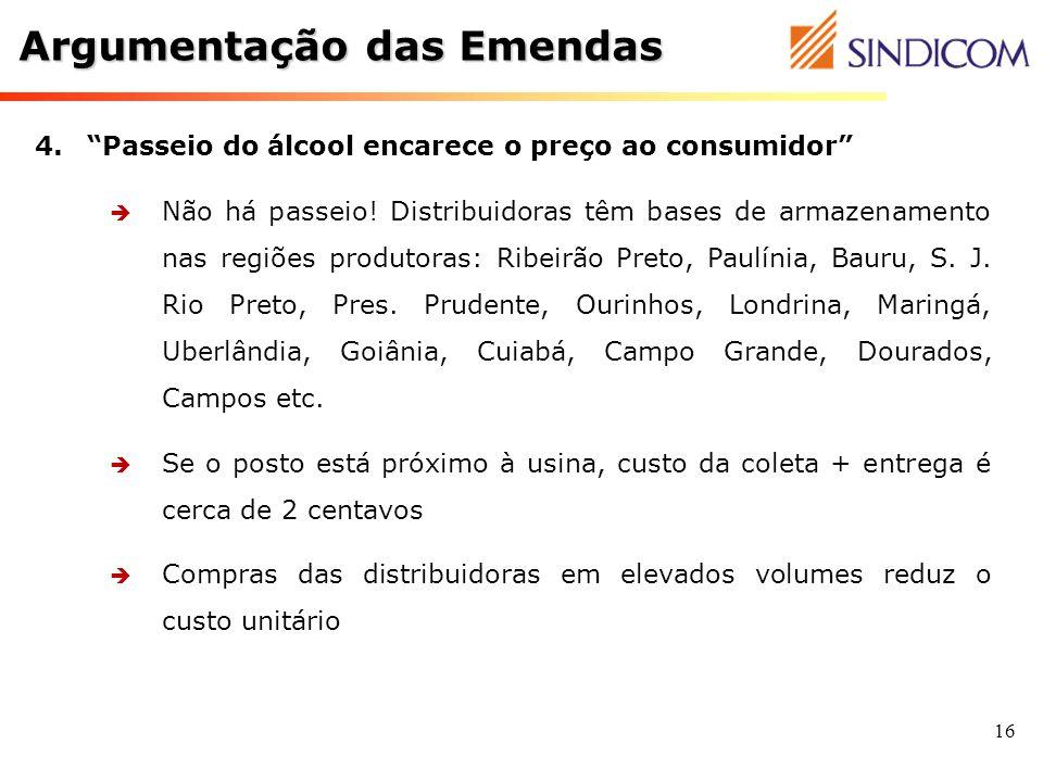 16 4.Passeio do álcool encarece o preço ao consumidor Não há passeio! Distribuidoras têm bases de armazenamento nas regiões produtoras: Ribeirão Preto