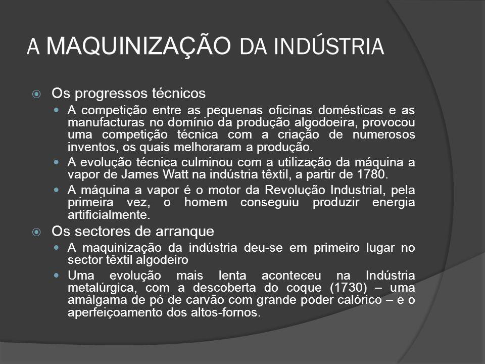A MAQUINIZAÇÃO DA INDÚSTRIA Os progressos técnicos A competição entre as pequenas oficinas domésticas e as manufacturas no domínio da produção algodoeira, provocou uma competição técnica com a criação de numerosos inventos, os quais melhoraram a produção.