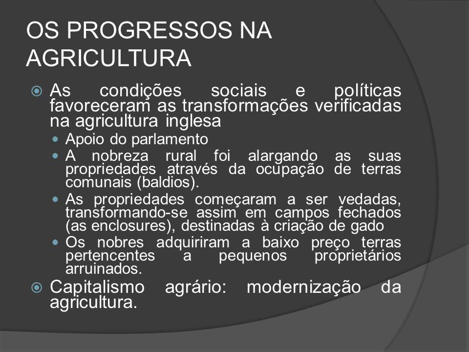 OS PROGRESSOS NA AGRICULTURA As condições sociais e políticas favoreceram as transformações verificadas na agricultura inglesa Apoio do parlamento A n
