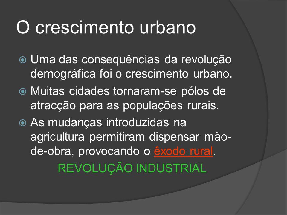 O crescimento urbano Uma das consequências da revolução demográfica foi o crescimento urbano. Muitas cidades tornaram-se pólos de atracção para as pop