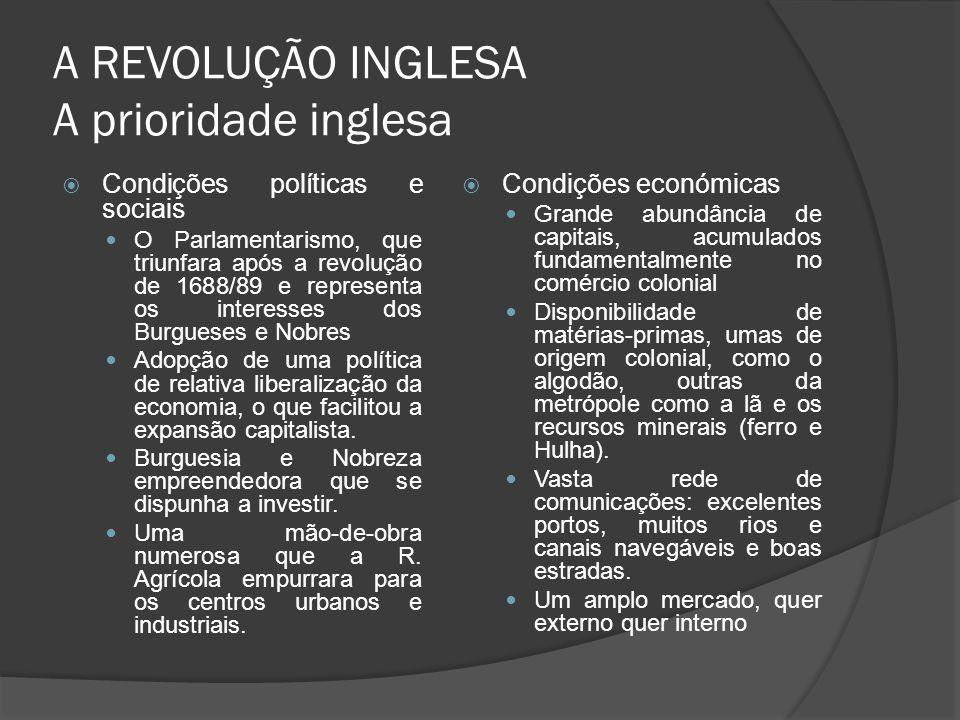 A REVOLUÇÃO INGLESA A prioridade inglesa Condições políticas e sociais O Parlamentarismo, que triunfara após a revolução de 1688/89 e representa os in