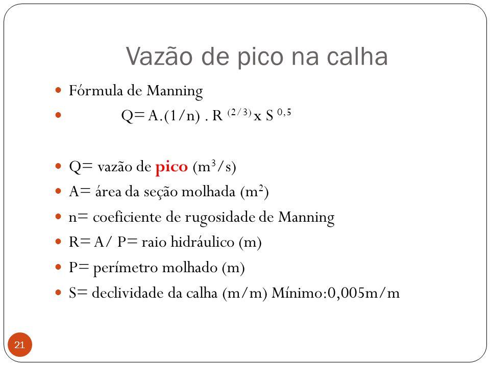 Vazão de pico na calha 21 Fórmula de Manning Q= A.(1/n). R (2/3) x S 0,5 Q= vazão de pico (m 3 /s) A= área da seção molhada (m 2 ) n= coeficiente de r