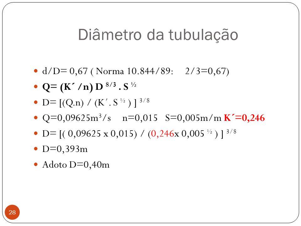 Diâmetro da tubulação 28 d/D= 0,67 ( Norma 10.844/89: 2/3=0,67) Q= (K´ /n) D 8/3. S ½ D= [(Q.n) / (K´. S ½ ) ] 3/8 Q=0,09625m 3 /s n=0,015 S=0,005m/m