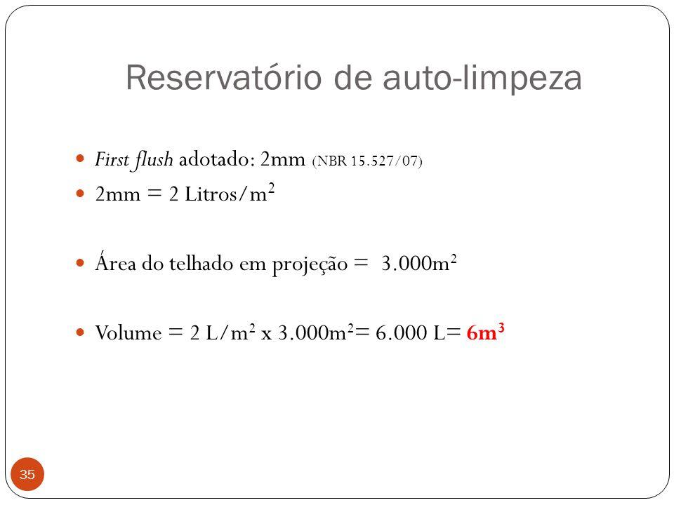 Reservatório de auto-limpeza 35 First flush adotado: 2mm (NBR 15.527/07) 2mm = 2 Litros/m 2 Área do telhado em projeção = 3.000m 2 Volume = 2 L/m 2 x