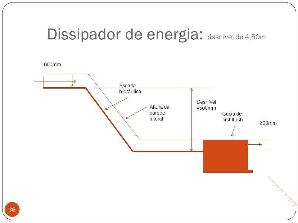 Dissipador de energia: desnível de 4,50m 36 Caixa de first flush Escada hidráulica Altura da parede lateral 600mm Desnível 4500mm