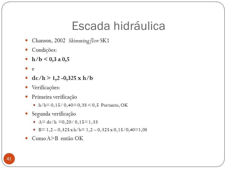 Escada hidráulica 41 Chanson, 2002 Skimming flow SK1 Condições: h/b < 0,3 a 0,5 e dc/h > 1,2 -0,325 x h/b Verificações: Primeira verificação h/b= 0,15