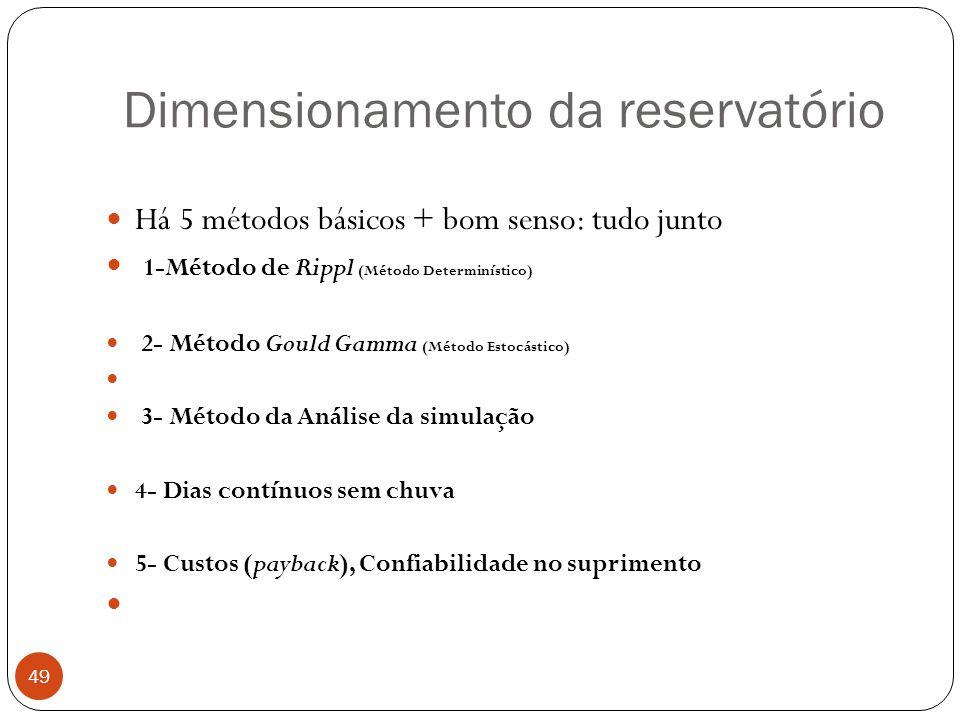 Dimensionamento da reservatório 49 Há 5 métodos básicos + bom senso: tudo junto 1-Método de Rippl (Método Determinístico) 2- Método Gould Gamma (Métod