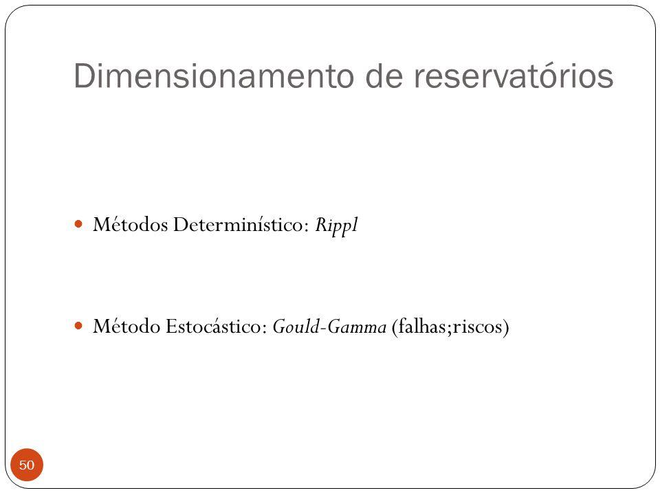 Dimensionamento de reservatórios 50 Métodos Determinístico: Rippl Método Estocástico: Gould-Gamma (falhas;riscos)