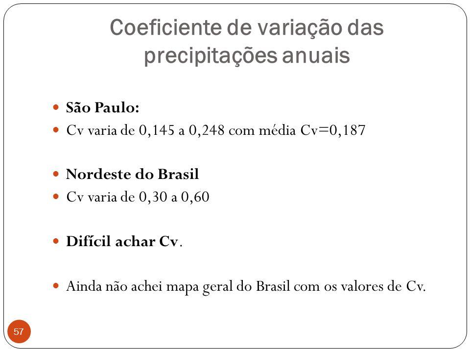 Coeficiente de variação das precipitações anuais 57 São Paulo: Cv varia de 0,145 a 0,248 com média Cv=0,187 Nordeste do Brasil Cv varia de 0,30 a 0,60