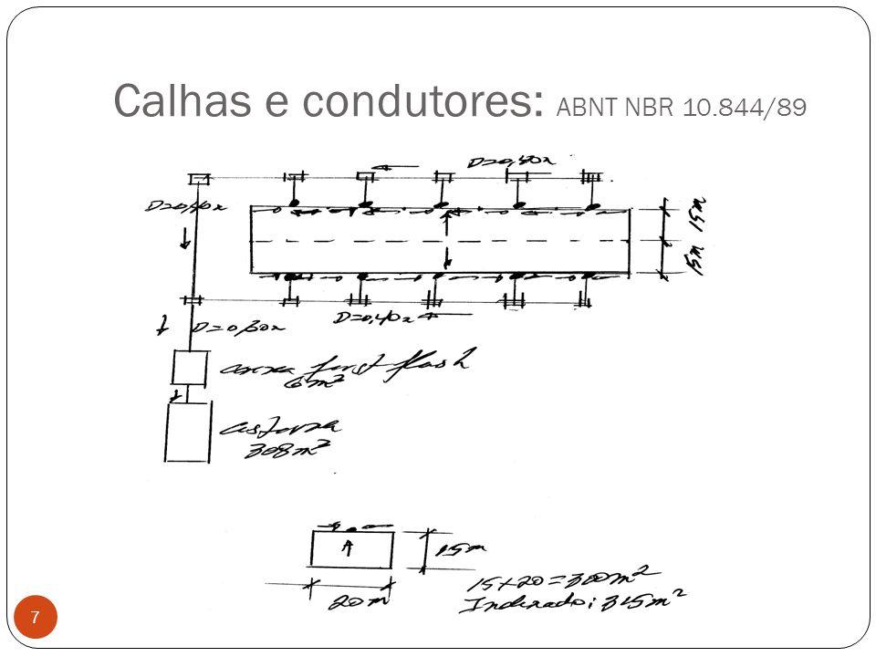 Condutor vertical minimo=75mm Usando critério da ABNT aresta viva 18 Entrando com: Q= 1155 L/min= 19,25 L/s L= pé-direito = 6,0m Achamos Altura do nível de água sobre o coletor: H=80mm Diâmetro do coletor vertical D=76mm=0,076m e Adoto D=100mm CONDUTOR VERTICAL D= 100mm