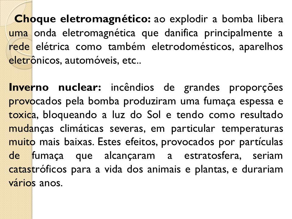 Choque eletromagnético: ao explodir a bomba libera uma onda eletromagnética que danifica principalmente a rede elétrica como também eletrodomésticos,