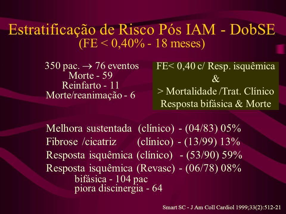 Estratificação de Risco Pós IAM - DobSE (FE < 0,40% - 18 meses) 350 pac.