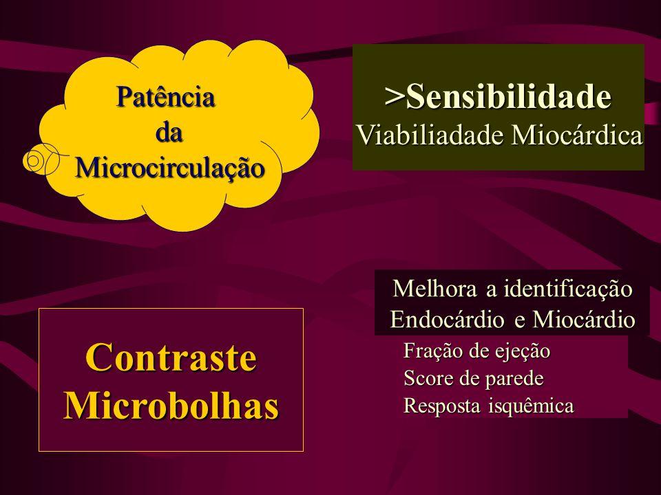 >Sensibilidade Viabiliadade Miocárdica Melhora a identificação Endocárdio e Miocárdio Resposta isquêmica Score de parede Fração de ejeção ContrasteMicrobolhas PatênciadaMicrocirculação